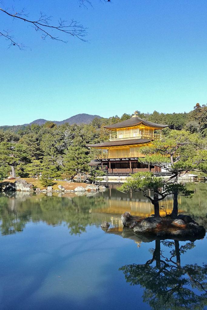 L'incantevole vista del Kinkaku-ji - il celebre tempio d'oro di Kyoto