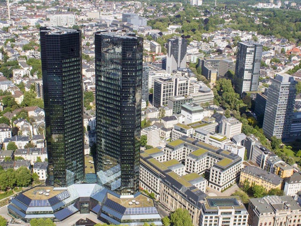 Francoforte dall'alto-Panorama Francoforte-Skyline Francoforte-Francoforte-Germania-Germany-europa-mainattan-Francoforte finanziaria