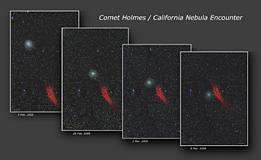 Comet Holmes pass by the California Nebula