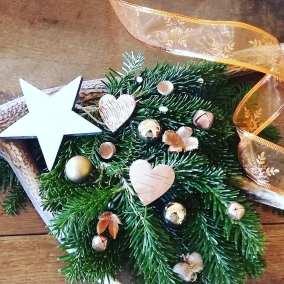 couronne de Noël naturelle cuivrée
