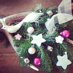 Couronne de Noël rose - blanc -argent