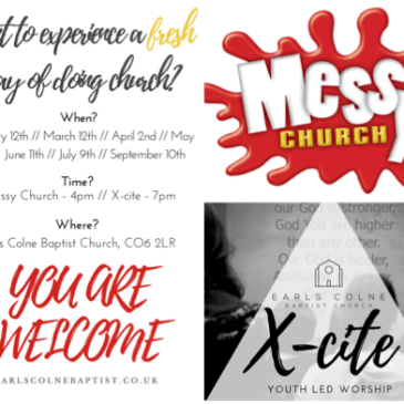 New X-cite! and Messy church dates
