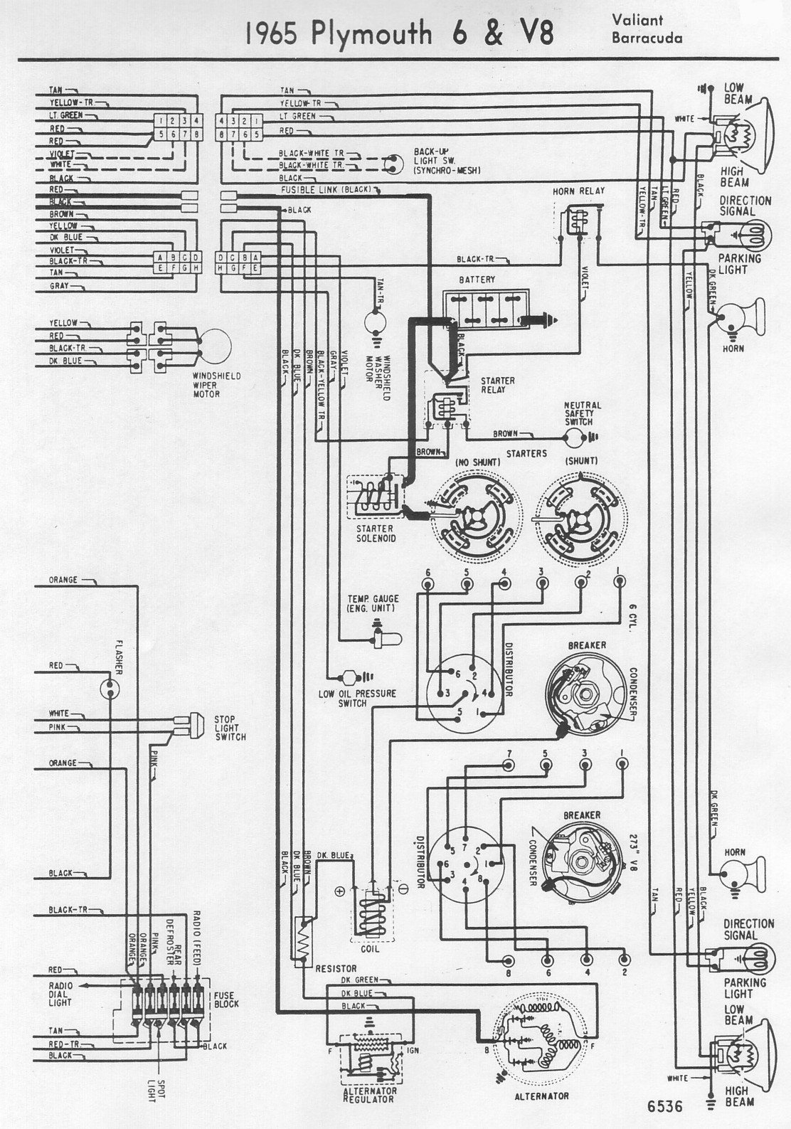Plymouth Valiant Wiring Diagram Schematic