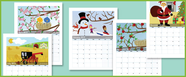 2012 Early Years Calendar Free Early Years Amp Primary