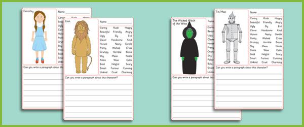 The Wizard Of Oz Description Worksheets