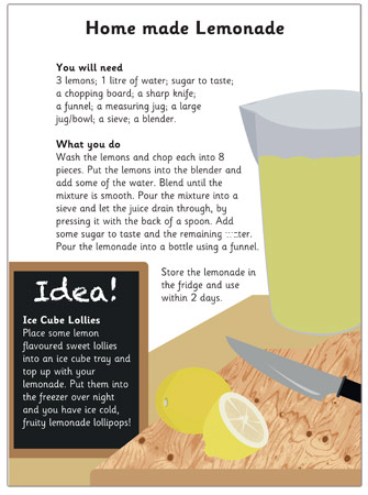 Homemade Lemonade Recipe Free Early Years Amp Primary
