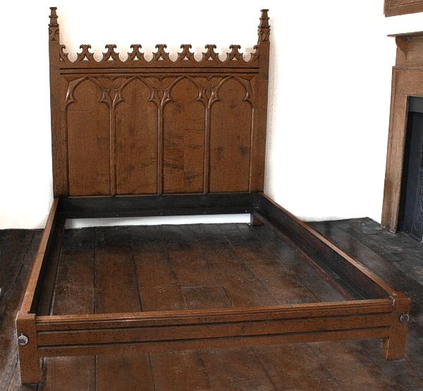 Gothic Hand Carved Oak Bed Handmade Bespoke Oak Bedroom Furniture