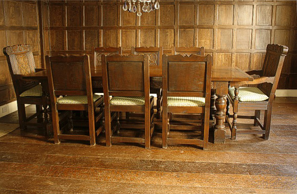 Carved Oak Dining Table Amp Chairs In Tudor Panelled Room