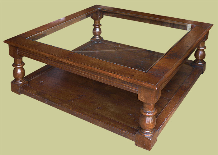 period style large square oak coffee