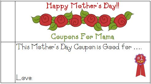 mothers day coupons early play templates. Black Bedroom Furniture Sets. Home Design Ideas
