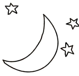 simple moon and stars drawing