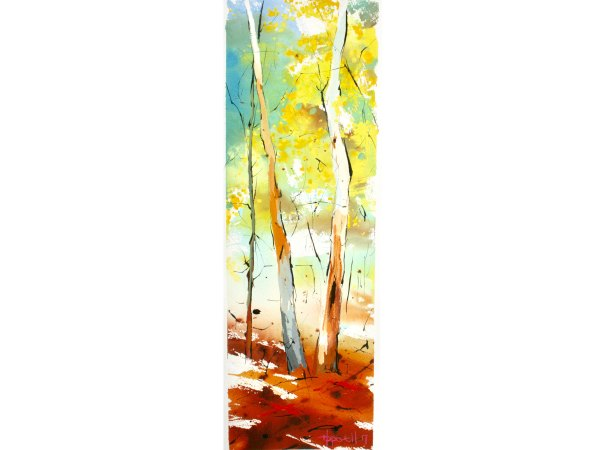 Jennifer Hopewell, Morning Sun, gouache, ink and watercolour on paper, 770 x 385 $950