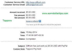 tapporo payment proof