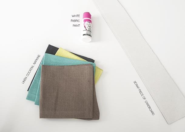 geo stamped napkin materials
