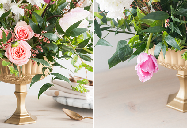 low wide vase flower arrangement