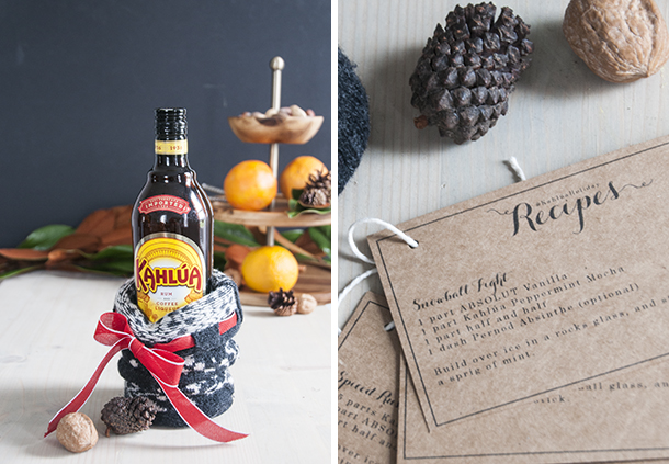 kahlua recipe cards and gift bag
