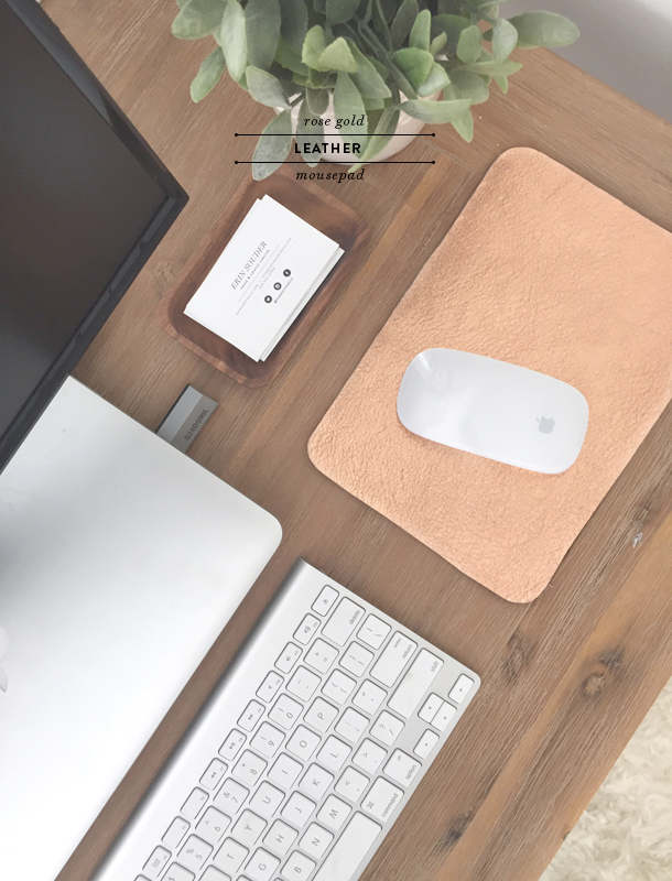 rose gold leather mousepad
