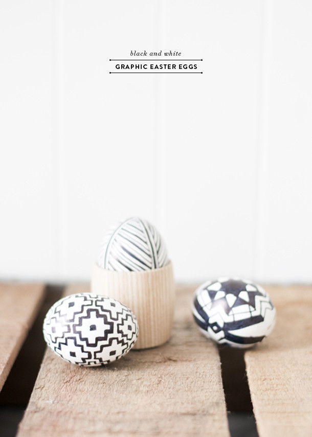 black and white graphic easter eggs