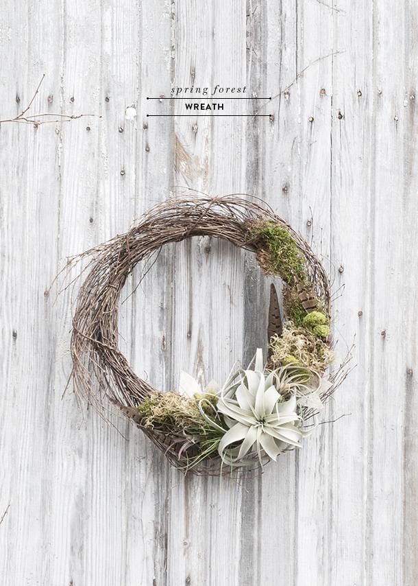 minimal spring living wreath