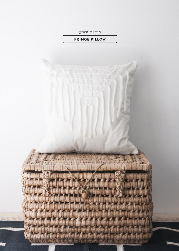 yarn woven fringe pillow