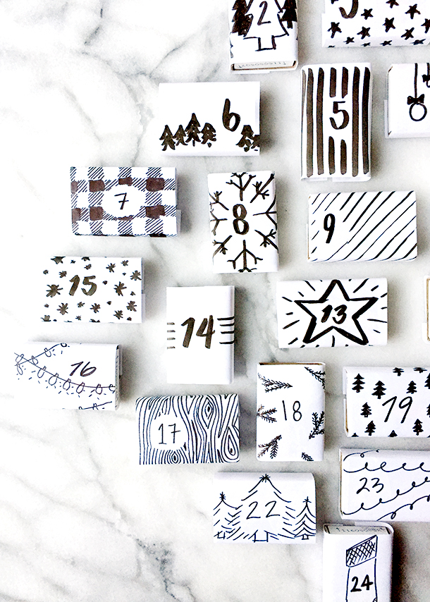 black and white advent calendar