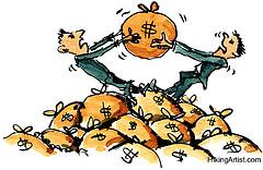 cartoon of two men fighting over bags of money