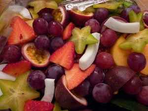 sliced fruit and berries