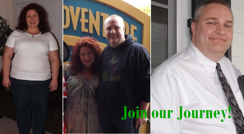 3 panel picture of couple losing weight. Before and after