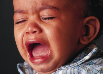 little boy crying as if hurt