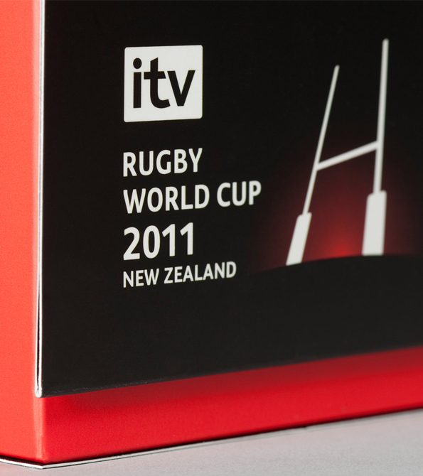 "Close up of the outside of the box designed goalposts with ITV logo and ""Rugby World Cup 2011 New Zealand"". Earnie creative design"