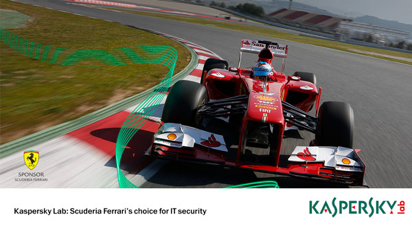 Image of Ferrari Formula 1 Car with Kaspersky logo. Earnie creative design