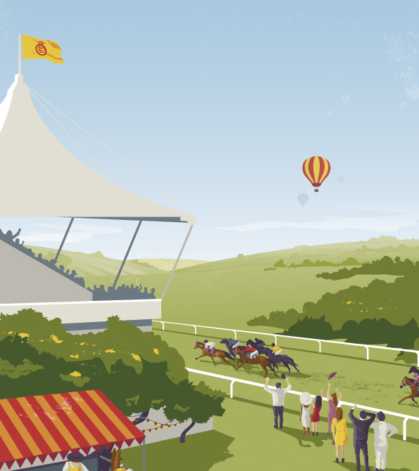 Goodwood illustration with all of the elements of a raceday. Earnie creative design