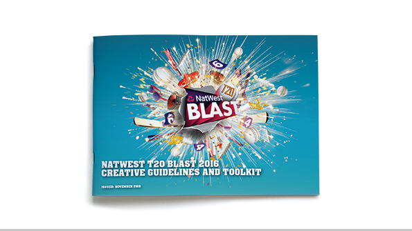 ECB T20 Blast 2016 creative guidelines and toolkit outside cover. Earnie creative design