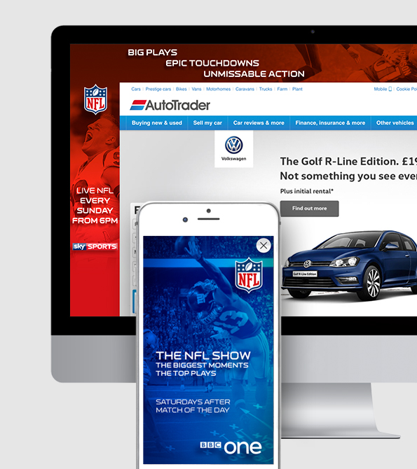 NFL Sky Sports ad and site skin. Earnie creative design