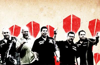 PDC creative with five key darts players. Earnie creative design