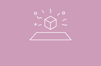 Cube illustration in white on pink background with lines and shapes surrounding it and rectangle below. Earnie creative design.
