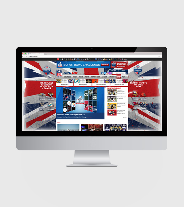 NFL London Games 2017 Website skin advertising the games iMac. Earnie creative design