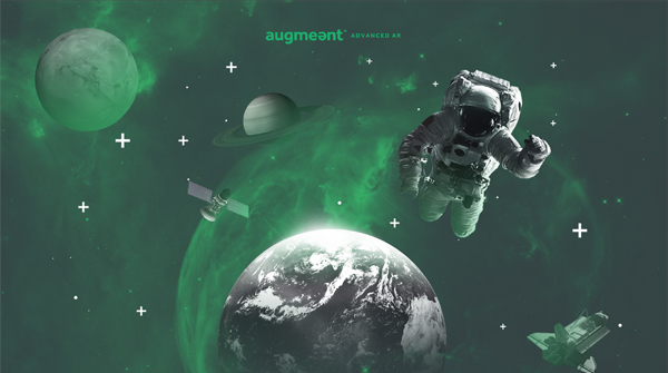 Creative for Augmeant with an astronaut, planet earth, Saturnm the Moon, a spaceshuttle, a satellite floating around in outer space. . Earnie creative design