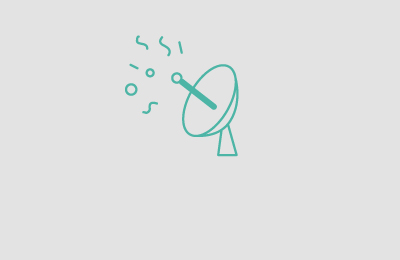 Green satellite illustration on grey background with shapes coming out from it. Earnie creative design.