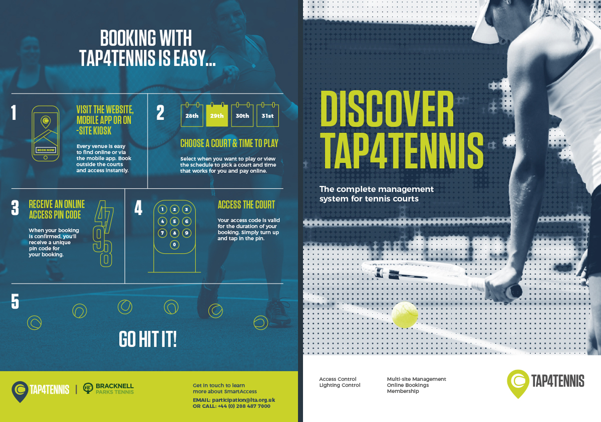Tap4Tennis Brochure front cover and infographic. Earnie creative design