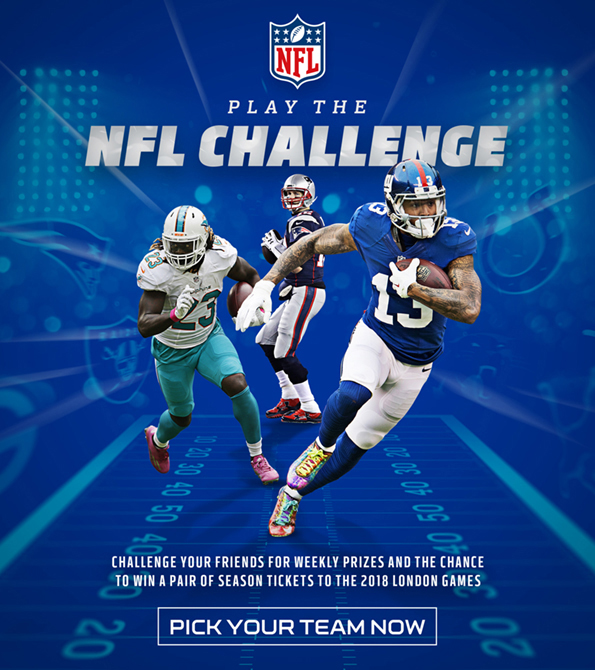 NFL Play the Challenge creative featuring Tom Brady, Jay Ajayi and Odell Beckham Jnr. Earnie creative design.