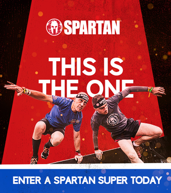 Spartan Super creative with this is the one written in white on red and black background with two people below. Earnie creative design.