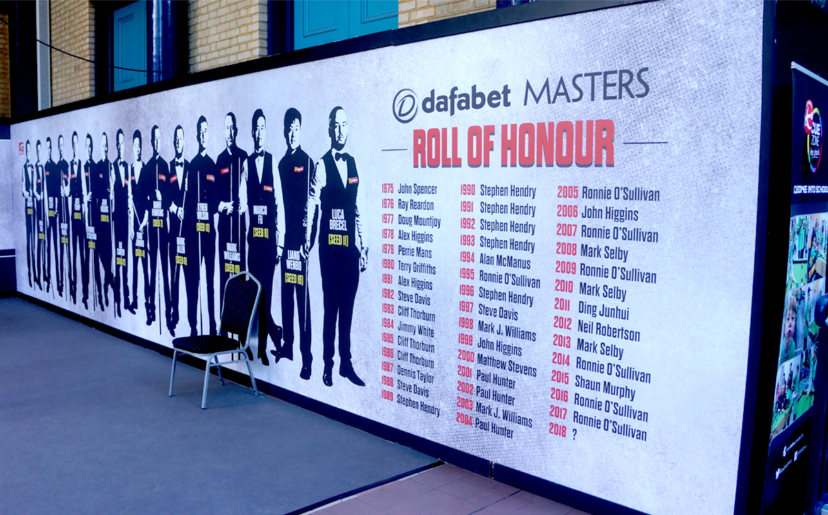 World Snooker Dafabet Masters Roll of Honour creative billboard featuring 16 players. Earnie creative design