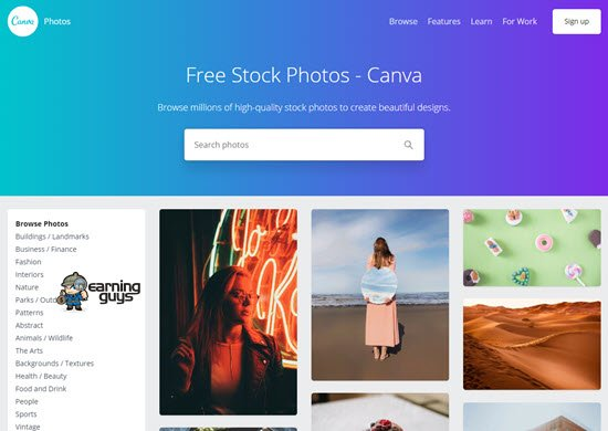 Canva free images for websites