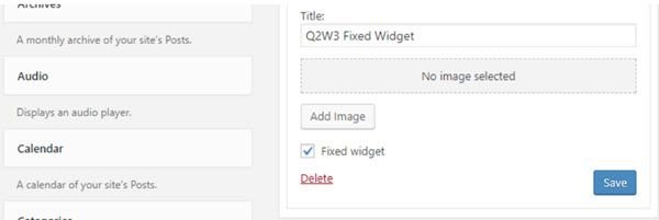 Q2W3 Fixed Widget Plugin