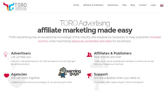 Toro Advertising CPA Affiliate Network