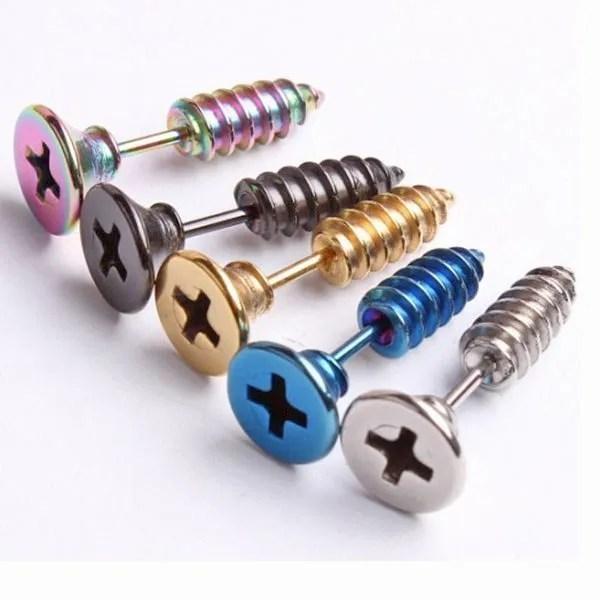 Screw Stud Stainless Steel Men Earrings