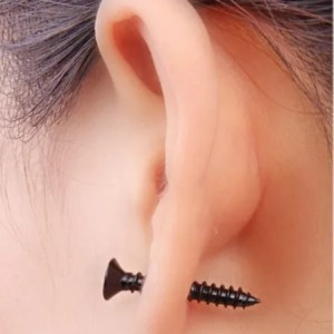 Screw Stud Stainless Steel Men Earrings