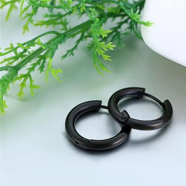 Stainless Steel Black Round Hoop Men Earrings