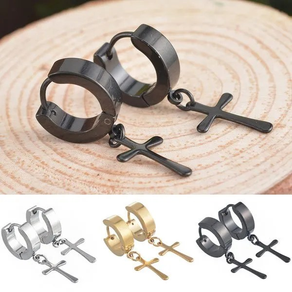 Stainless Steel Stud Cross Men Earring